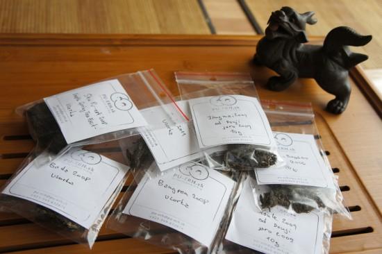 Vzorky gushu puerhů